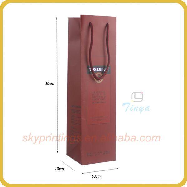 Beautiful art paper wine bottle bags wholesale