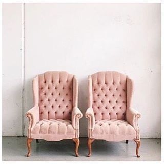 Thinking I need a pink velvet chair in my life {photo & chairs unknown}