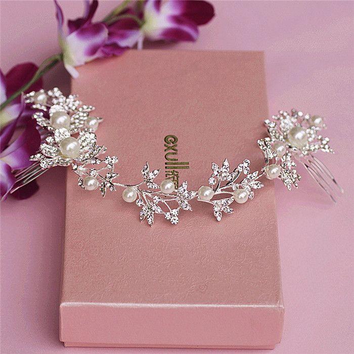Silver Rhinestone Pearl Hair Jewelry Floral Bridal Headband Tiara Long Comb Wedding Hair Accessories Headbands