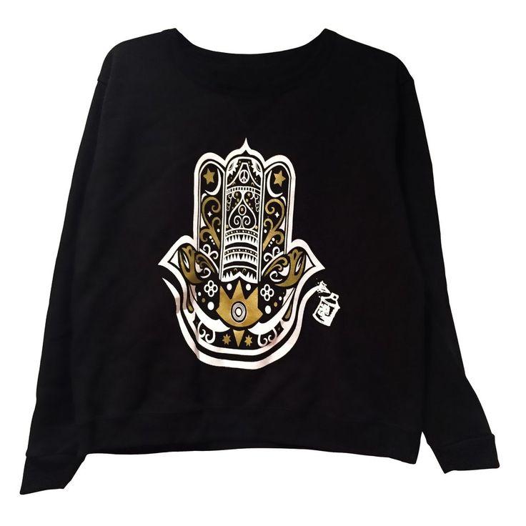 Black pullover Hamza Hand sweatshirt perfect holiday gift idea, soft sweatshirt from www.graffitiandgold.com