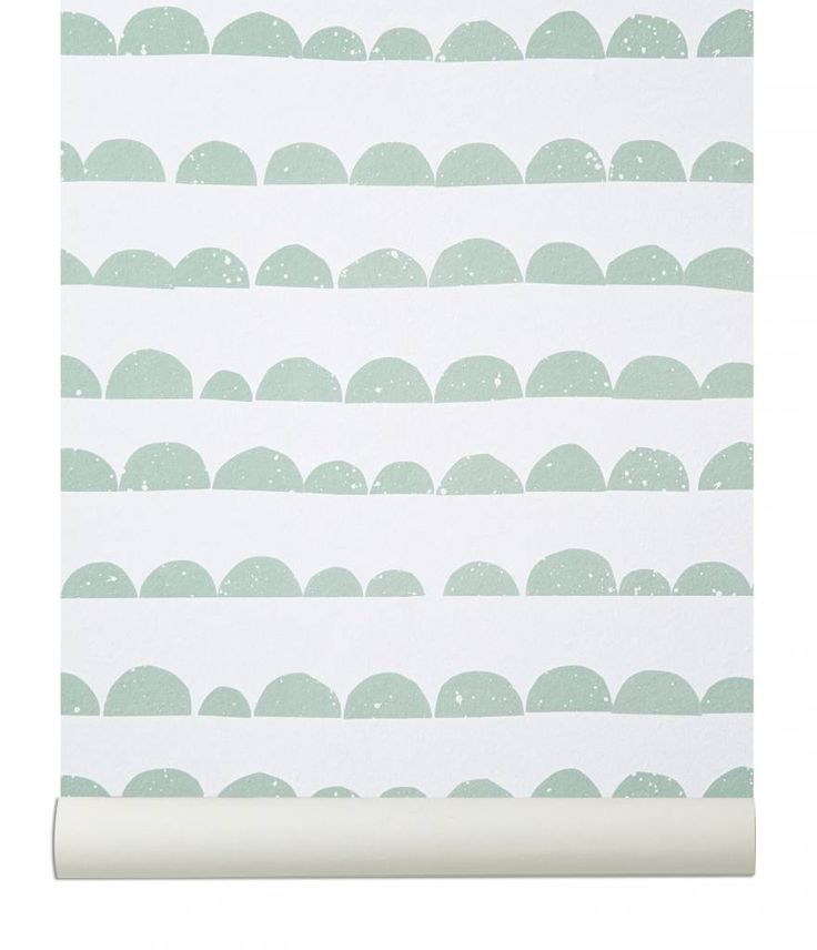 Ferm Living Behang 'Half Moon' mint groen/wit papier 10.05mtrx53cm