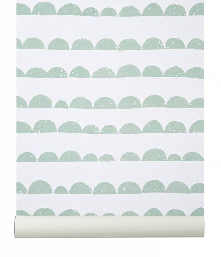 Ferm Living Behang 'Half Moon' mint groen/wit papier 10.05mtrx53cm