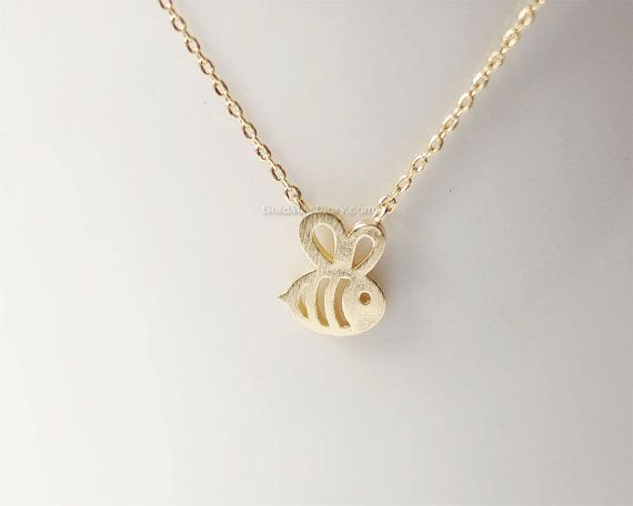 Tiny Honey Bee Necklace Bumble Bee necklace by MissDiary on Etsy