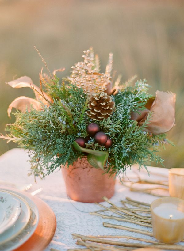 Winter Wedding Centerpiece ... matches pinecone place holders!