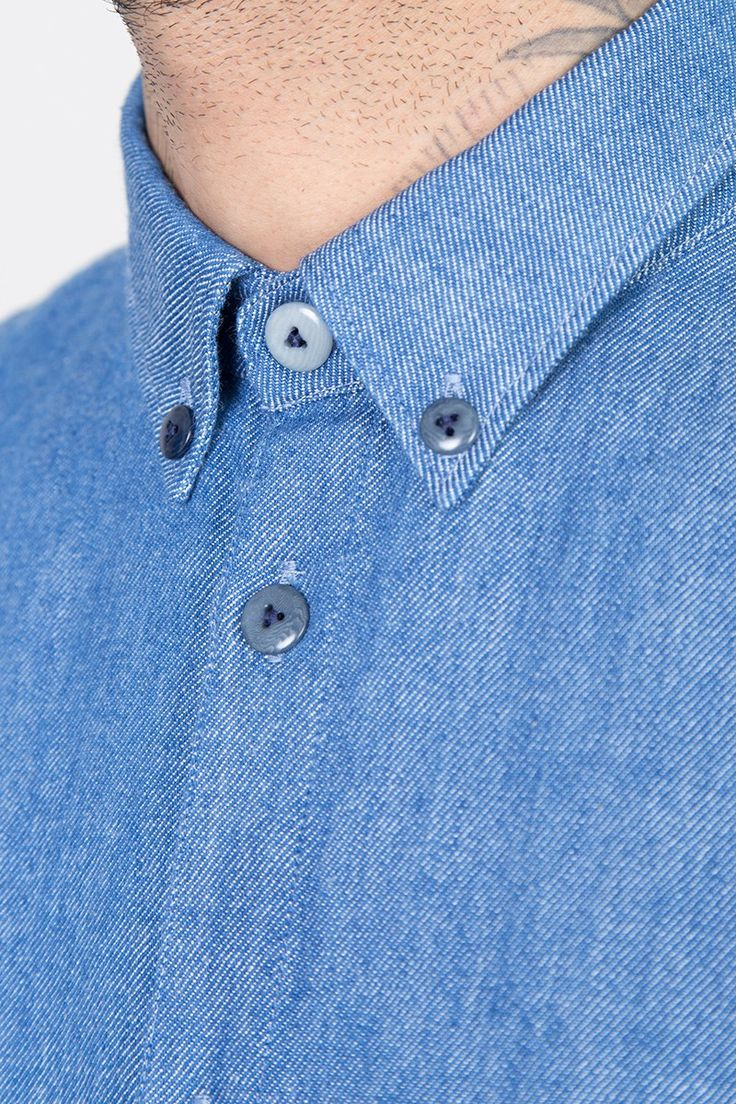 Three Button Shirt - Denim Twill