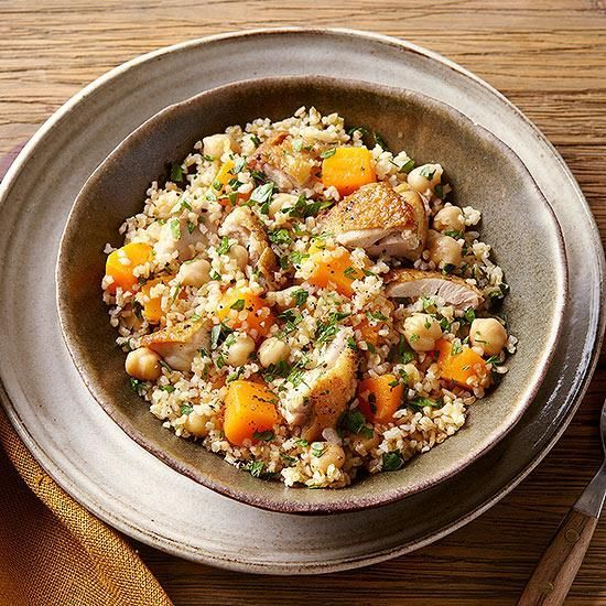 Try Bulgur Salad with Chicken & Squash for dinner tonight! Rich squash mixed with nutty chickpeas, succulent chicken and enough bulgur to provide 6 ounces of whole grains will leave your family satisfied. (via  RachaelRayMag.com)