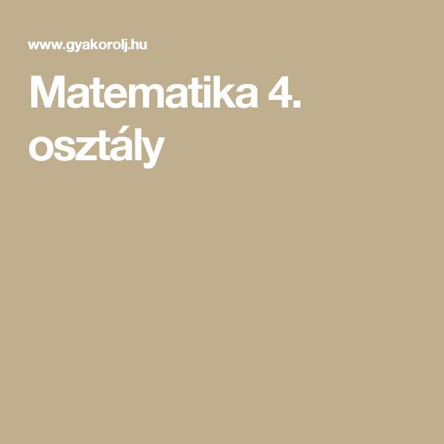 Matematika 4. osztály
