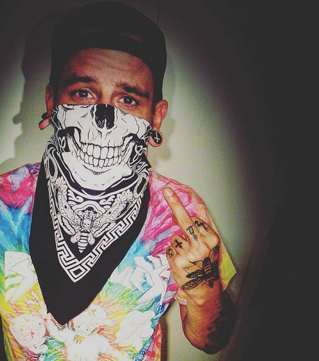 "#shoutout to #happycustomer Eddy Velez who's loving our in our CRMC x @russelltaysom tie dye ""Satan Rules"" Tee & ""Death Mandala"" Bandana  Items available at www.crmcclothing.co 