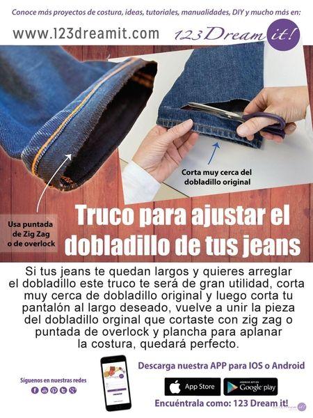 Si tus jeans te quedan largos y quieres acortarlos sin deshacer el dobladillo original para que no se note, aquí te dejamos este truco.