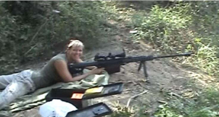 This tough lady just loves to shoot this big Barrett .50 caliber rifle. Click here to see her expressions of shear pleasure firing this beastly rifle.