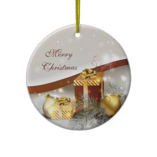 Gold and Red Christmas Gifts and Decorations Christmas Tree Ornament