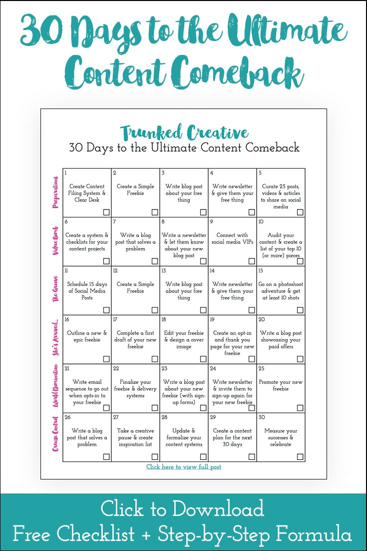 30 Days to the Ultimate Content Comeback by Trunked Creative (Free Checklist)