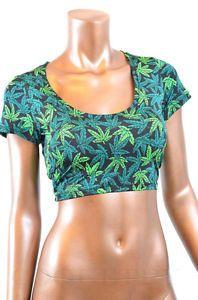 Pot Weed marijuana Cannabis Print Short Sleeve Crop Top NWT Coquetry Clothing