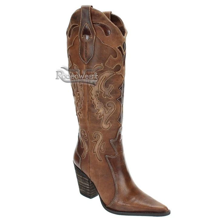 Bota Texana Feminina Cano Alto Trabalhado - Tucson - Mulheres - Rodeo West - Moda Country e Completa Selaria