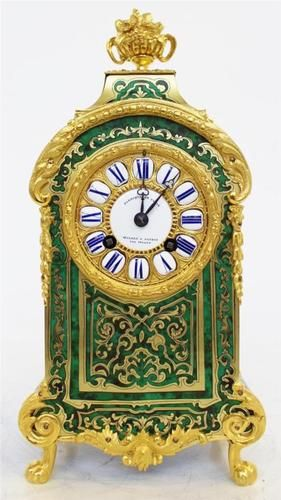RARE, ABSOLUTELY STUNNING, ANTIQUE FRENCH GREEN SHELL & ORMOLU BOULLE MANTEL CLOCK