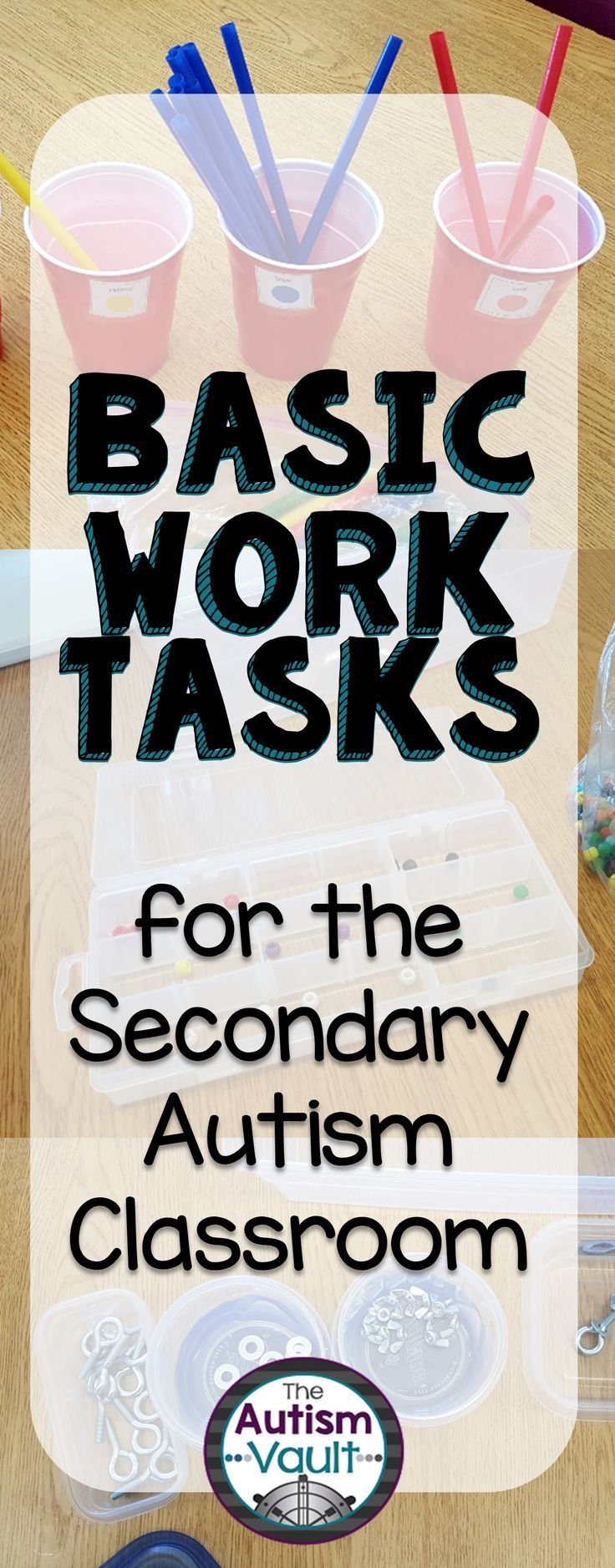 Work tasks are a great way to give our students with autism hands-on learning opportunities for very little or no money. This is especially important for our secondary learners, being that many of these skills can transfer to a work site or job environmen