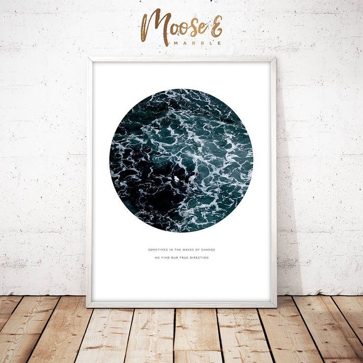 Ocean waves printable wall art minimalist scandinavian