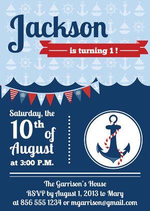 Nautical Kids Birthday Invitation Template Digital File On Etsy 1500