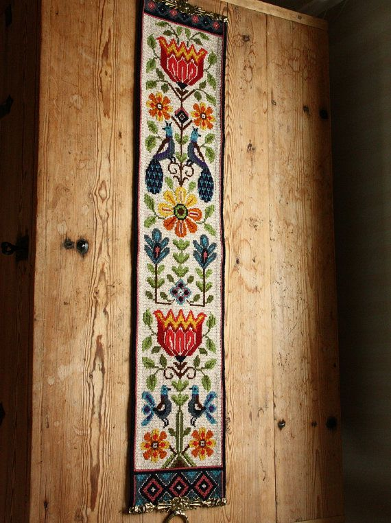 Lovely twist stitch wool embroidered folk wall by Ingsvintage