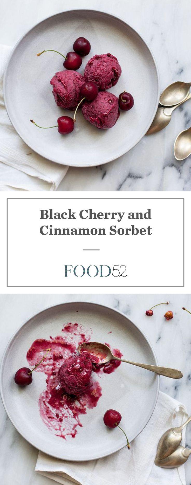 Black cherry and cinnamon sorbet