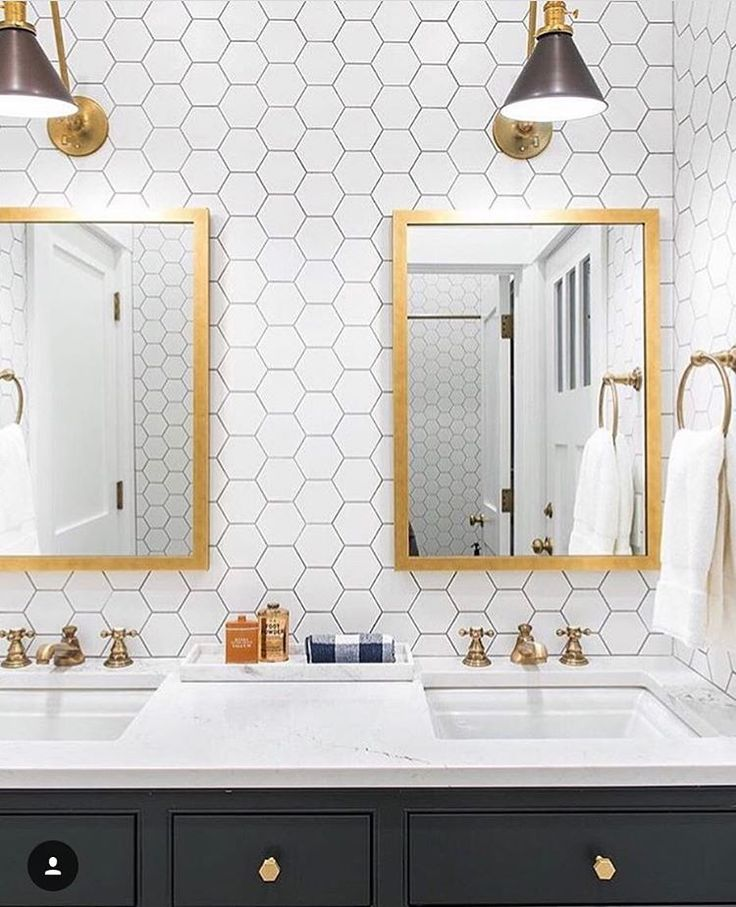 "550 Likes, 16 Comments - Lindye Galloway (@lindyegalloway) on Instagram: ""Simply cannot get enough of this bathroom via @caitlinwilsondesign! The hex + brass combo with the…"""