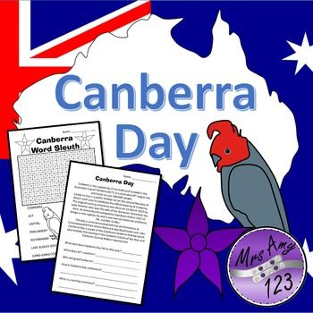 Canberra Day- word sleuth and comprehension text + questions