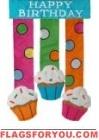 Birthday Cupcakes Applique Garden Flag