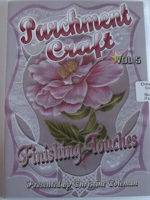 PARCHMENT CRAFT - FINISHING TOUCHES DVD VOL 5 BY CHRISTINE COLEMAN    Finishing Touches is volume 5 in the series of DVDs from Christine Coleman. There are loads of tips for getting good results. A lot of different techniques are covered: tracing with a white pencil, advanced embossing, monochrome painting, burnishing with polychromos pencils, making an oversized envelope from A4 and making a picture frame, also how to emboss a rose with shaders and lots more.