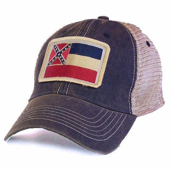 Mississippi Flag Patch Trucker Hat Black by StateLegacyRevival