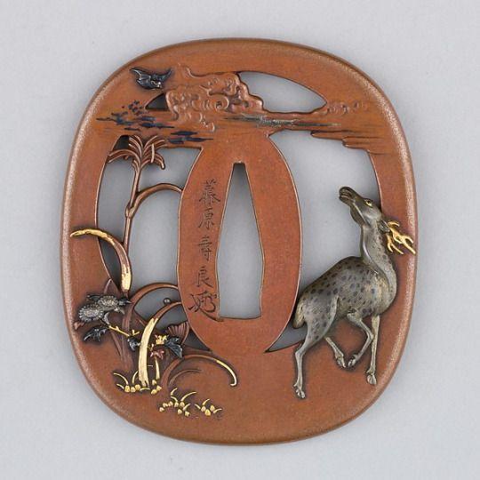 Sword Guard (Tsuba) Date: 19th century Culture: Japanese Medium: Copper, copper-silver alloy (shibuichi), copper-gold alloy (shakudō), gold, silver  The Met