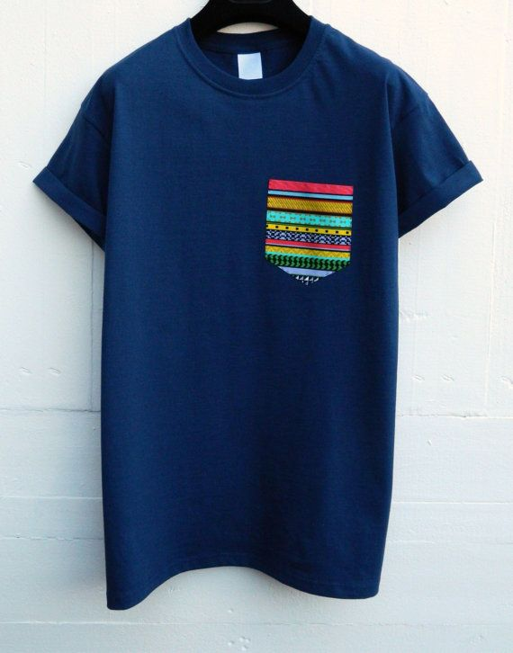 Men's Ethnic Pattern Navy Blue Pocket T-Shirt by HeartLabelTees