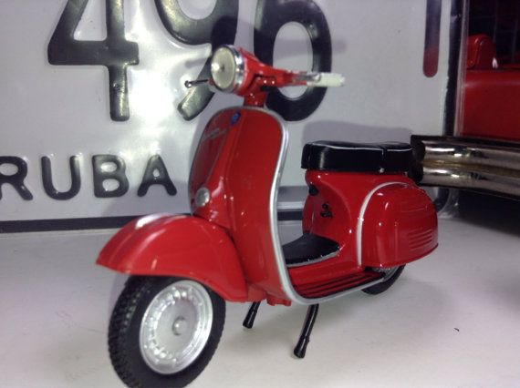 """Vespa Special Scooter Moped motor cycle vintage diecast metal model toy wedding 3-4"""" inches long red diorama mini show  on Etsy, $17.50"""