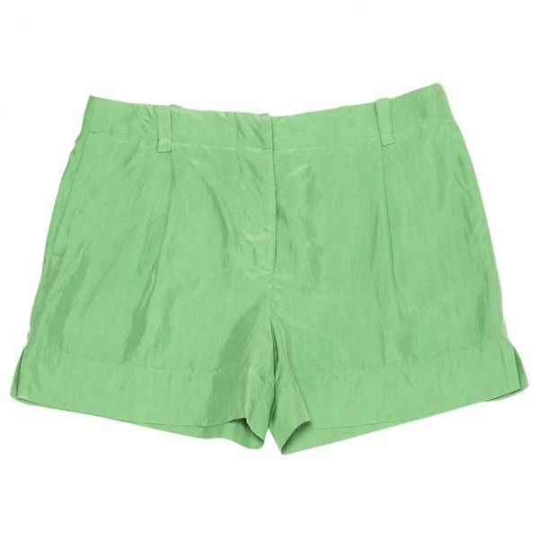 Pre-owned Stella Mc Cartney Mini-Shorts in Silk ($107) ❤ liked on Polyvore featuring shorts, bottoms, green, women clothing shorts, stella mccartney, silk shorts, green shorts, mini short shorts and short shorts