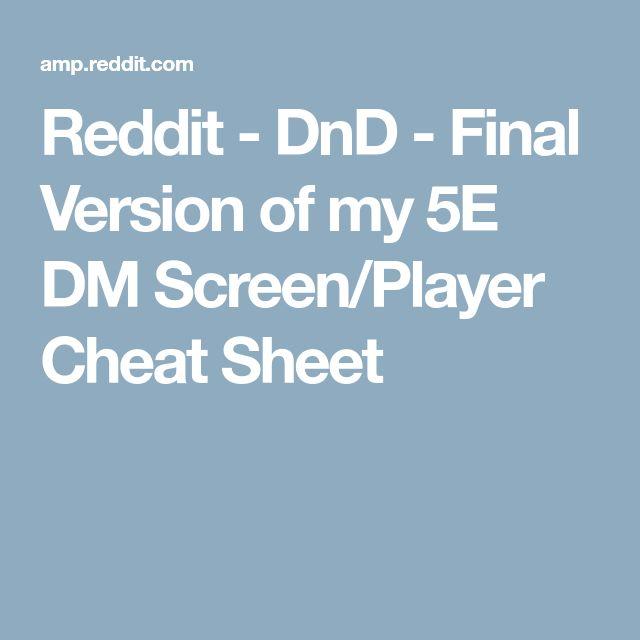 Reddit - DnD - Final Version of my 5E DM Screen/Player Cheat Sheet
