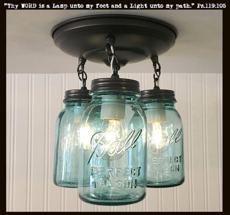 193 best mason jar light fixtures images on pinterest decorated vintage blue mason jar ceiling lighting fixture trio aloadofball Image collections