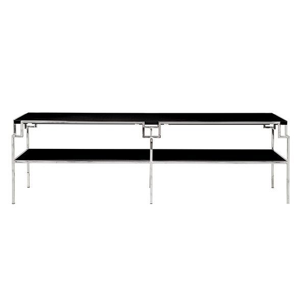 Worlds Away Helen Nickel Coffee Table with Black Lacquer Top
