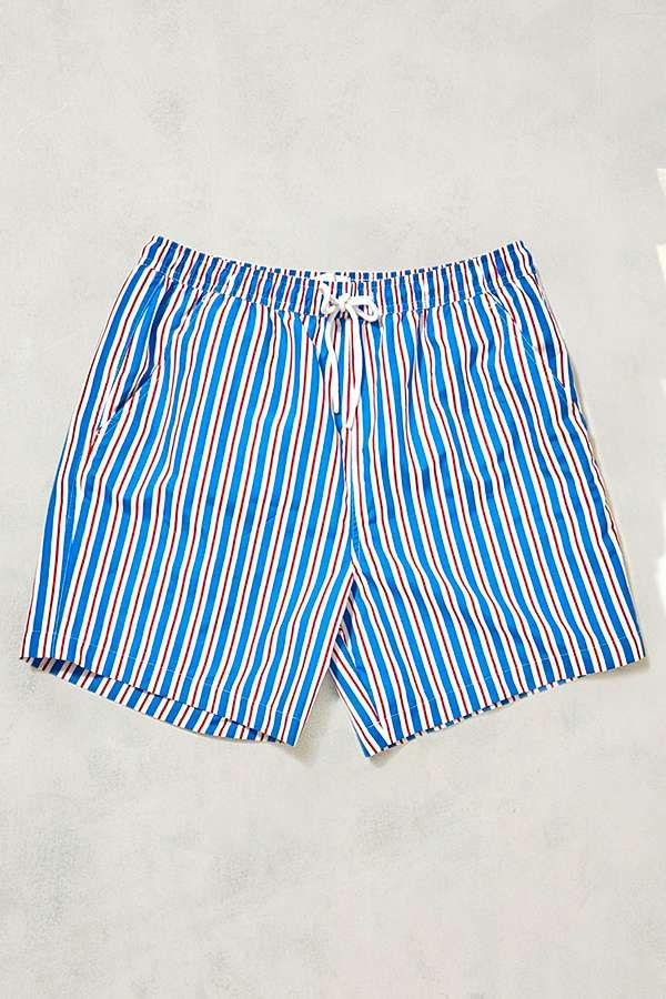 Slide View: 1: UO Swim Deck Chair Pink Striped Swim Shorts