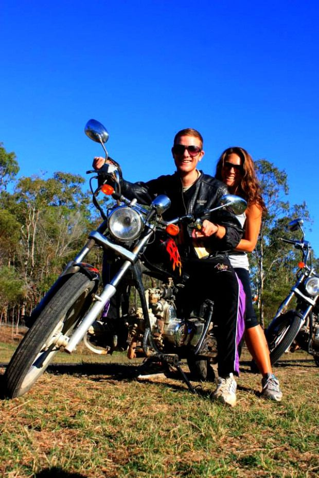 Luke and I Riding Choppers