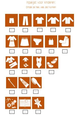 Packinglist for Kids - Laat kinderen een groot deel van hun koffer of tas zelf inpakken, een kind kan dat met een beetje hulp al vanaf een jaar of vier! Vul zelf het aantal in en inpakken maar!
