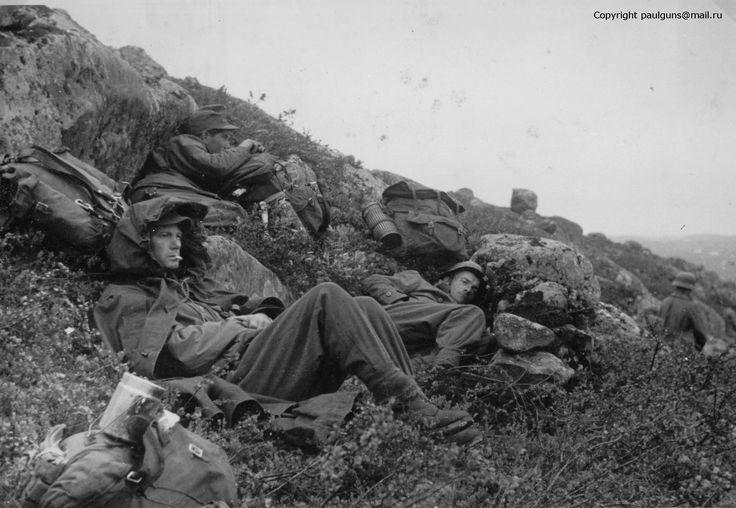 "Gebirgsjäger resting after the seizure of Hill 122 or ""Radfahrberg"". 30th June, 1941"
