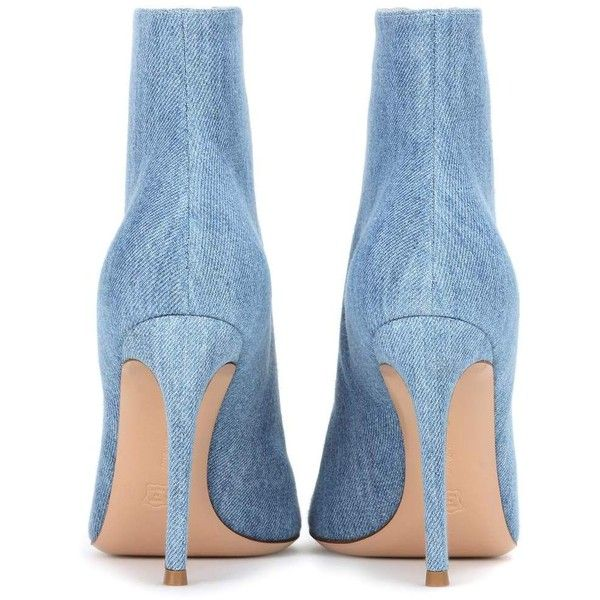 Gianvito Rossi Marie Denim Peep-Toe Ankle Boots (£780) ❤ liked on Polyvore featuring shoes, boots, ankle booties, blue denim boots, short boots, blue boots, ankle boots and peep toe ankle booties