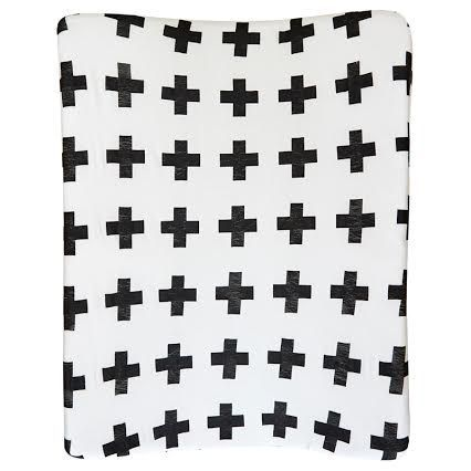 Black Swiss Cross | 100% cotton knit fabric | Fits standard size change mat size of 56 x 46 x 12 cm (length x width x height)