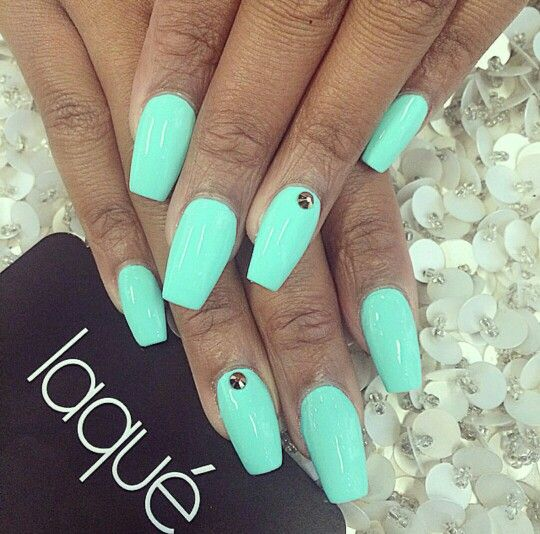 Coffin Turquoise Shape Nail