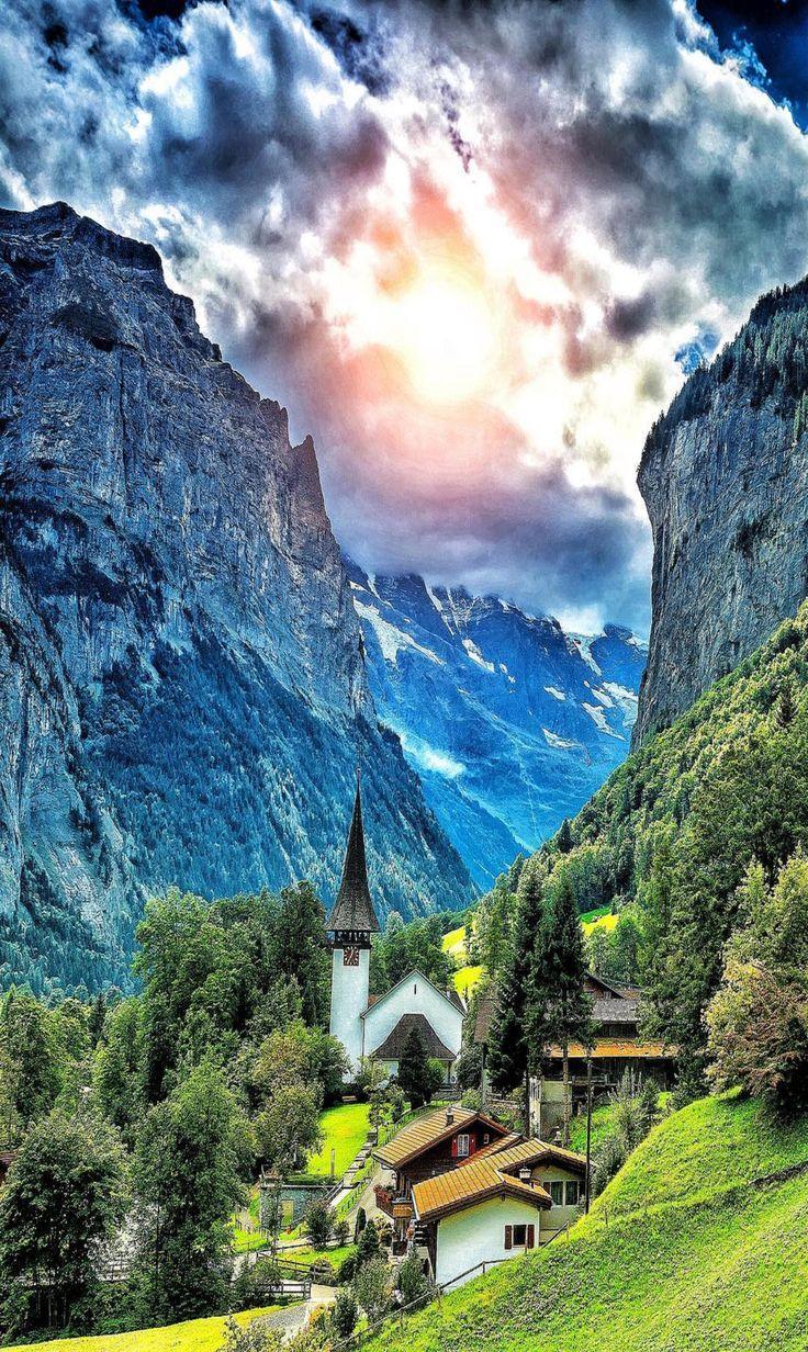 Mountain Scene With Sunburst Beautiful Landscapes Beautiful Nature Nature Photography