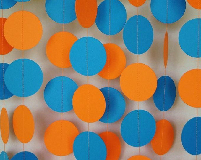 Naranja y azul guirnalda de papel, decoraciones de la fiesta de cumpleaños, niños cumpleaños Party Decor, guirnalda de círculo, 10 pies de largo