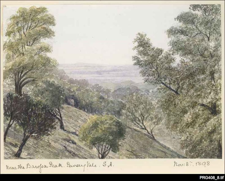 The Peak at Pewsey Vale  by Alfred Sells (1821-1908). 1898. Sells was an Anglican clergyman from who arrived in SA in May 1877 and became the Incumbent of Holy Trinity Church at Lyndoch and later at St Michael's Church at Mitcham for four years from February 1884. He returned to England in 1888. The paintings were done in England, presumably from sketches made while in SA. http://www.samemory.sa.gov.au/site/page.cfm?u=461&c=5303