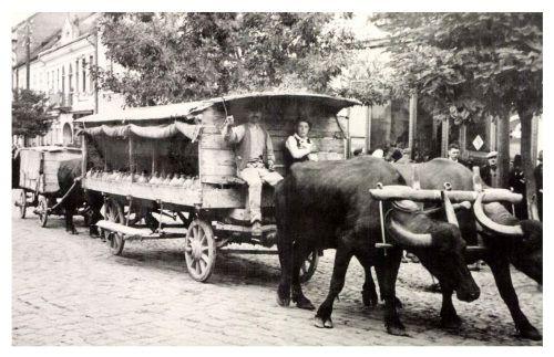 Székeyudvarhely:borvizes székely szekér a Kossuth utcában,1942.