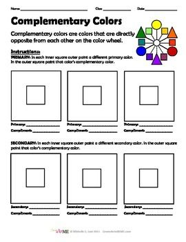 Complementary Color Worksheet is designed to help students identify and paint colors and their complements. Students can use pre-mixed colors or a better option is to have them mix their own colors. This worksheet can be completed with various mediums (paint or pastels, even colored pencil).*** Print on cardstock or heavy paperCreated by art teacher Michelle East @ www.CreateArtwithME.com