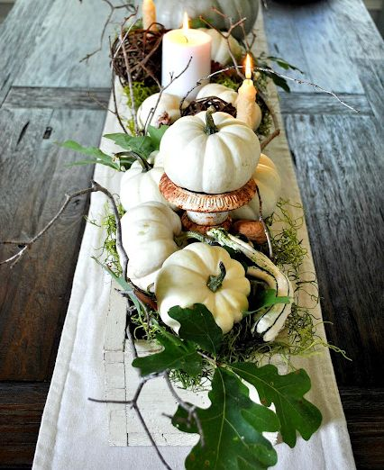tablescape...easy to put together, gather leaves and twigs from outside..pumpkins and gourds from the market..add candles and you have it! Works all autumn season..can add Halloween accents in October