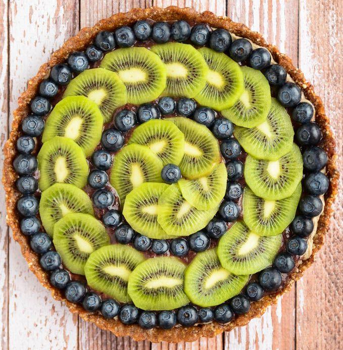 Raw Blueberry and Kiwi Tart Ingredients:  Raw almonds, dates, cinnamon, vanilla bean, nutmeg, raw cashews, banana, lemon juice, kiwis, and blueberries